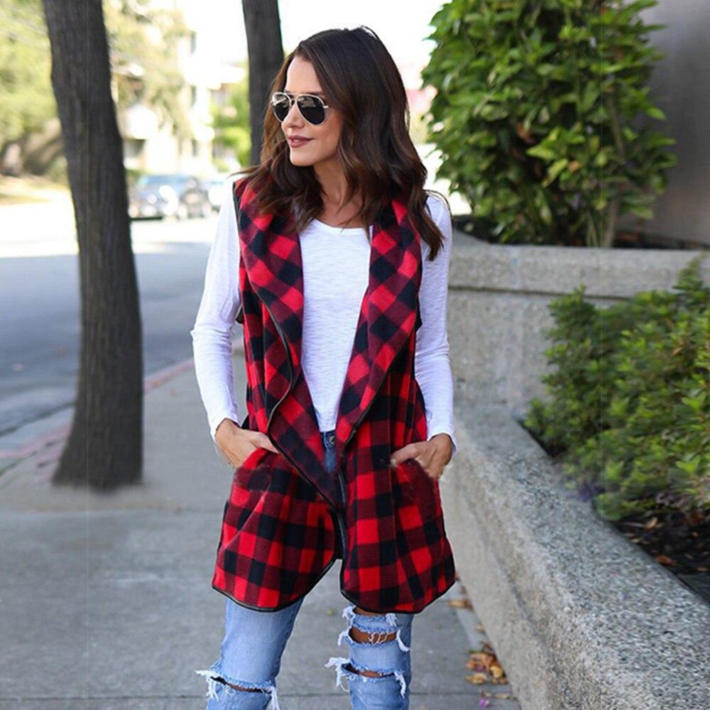 Новый стиль зима теплая Для женщин жилетка Повседневное без Рукавов проверяется Plaid Mid Длина пальто Верхняя одежда Большие размеры S--2XL