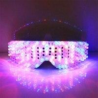 Полный Цвет подсветкой Очки может изменить 7 цветов мигает Halloween Party Маска Light Up очки для DJ Club шоу на сцене