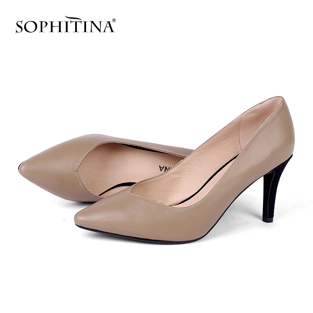 SOPHITINA Unique Women s Pumps Design Lady Comfortable High Thin Heel Sexy Pointed Toe New Shoes