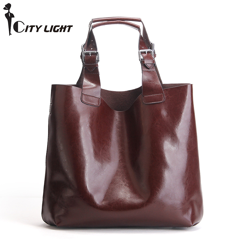 Fashion Genuine Leather Composite Bag Shoulder Bags Handbag Women Famous Brand Oil Wax Leather Female Tote Bag Ladies Big Bag new 2017 fashion brand genuine leather women handbag europe and america oil wax leather shoulder bag casual women