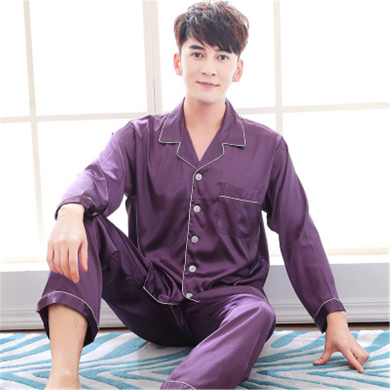 Mens Dressing Gown Men's Stain Silk Pajama Set Men Pajamas Silk Sleepwear Plus Sexy Modern Style Soft Cozy Satin Nightgown Men