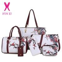 Chinese Style Floral Printing Women Handbags Shoulder Bags Set Female Practical Composite Bag 6 Piece Set Designer Brand Bolsa
