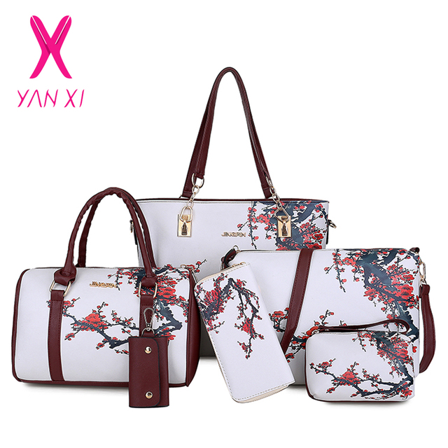 b626f1477a46 Chinese Style Floral Printing Women Handbags Shoulder Bags Set Female  Practical Composite Bag 6-Piece Set Designer Brand Bolsa