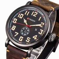 Curren Watch Fashion Casual Classic Digital Dial Men Wristwatches With Day And Date Leather Strap Reloj