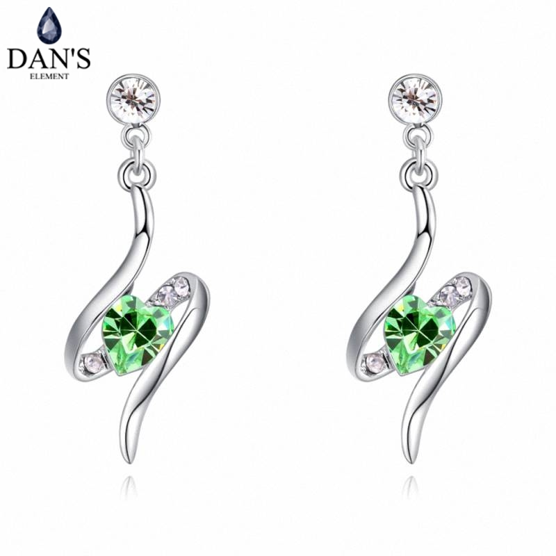 DANS 6 Colors Real Austrian crystals Stud earrings for women Earrings s New Sale Hot Round 129540
