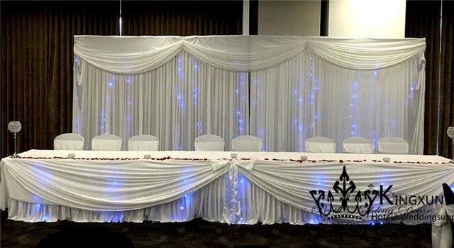 Wit Kleur Ijs Zijde Tafel Rok Omvatten Led Verlichting Voor Bruiloft ...