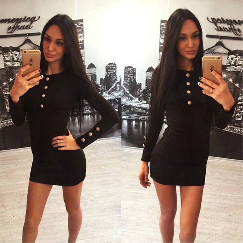 3color Winter Autumn Women Dress Fashion Sexy O-neck Long Sleeve Mini Casual Dress LLYS7902 (2)