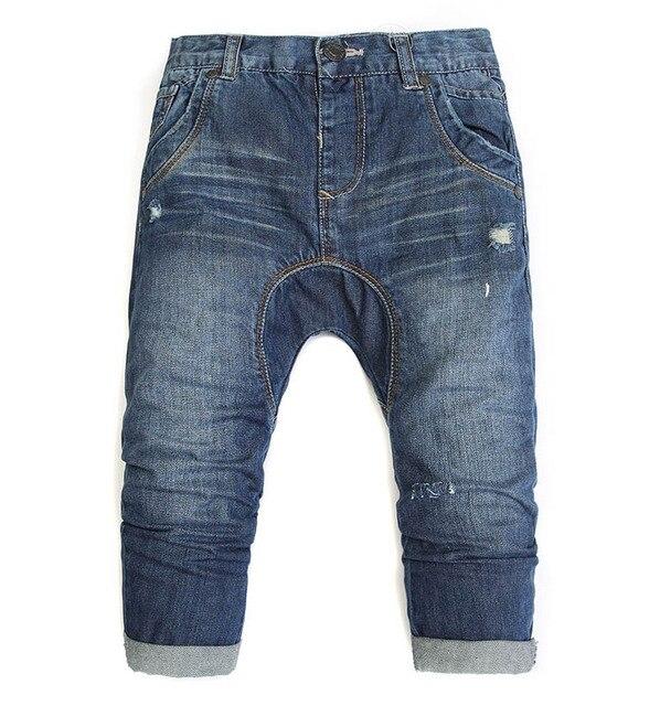 Осень Мальчики Детские джинсы брюки дети Отверстие мешковатые брюки детские оптом