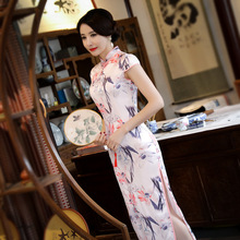 Traditional Chinese Women Casual Dress 3XL Sexy Print Floral Long Qipao Summer Vintage Short Sleeve Cheongsam