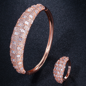 Image 4 - CWWZircons Luxury Cubic Zirconia Rose Gold Color Women Wedding Party Bangle Bracelet and Rings Sets Bridal Costume Jewelry T324