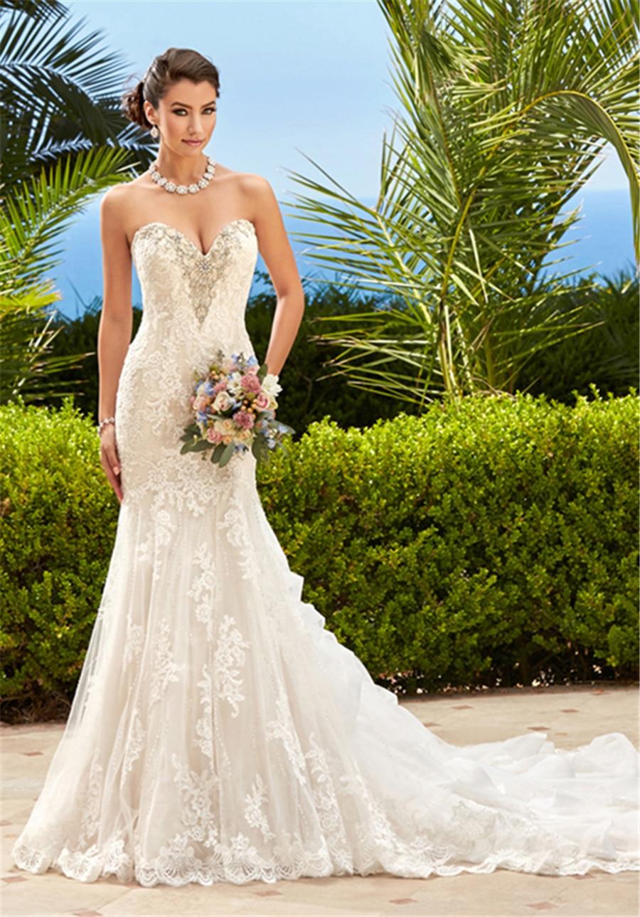 Lace Front Beaded Sweetheart Mermaid Wedding Dress H1618 Ruffled ...