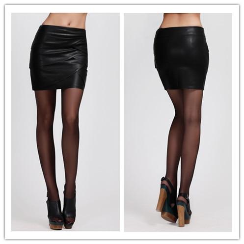 Special Design Pu Leather Skirt Crossed Ruffles Pencil Mini Black