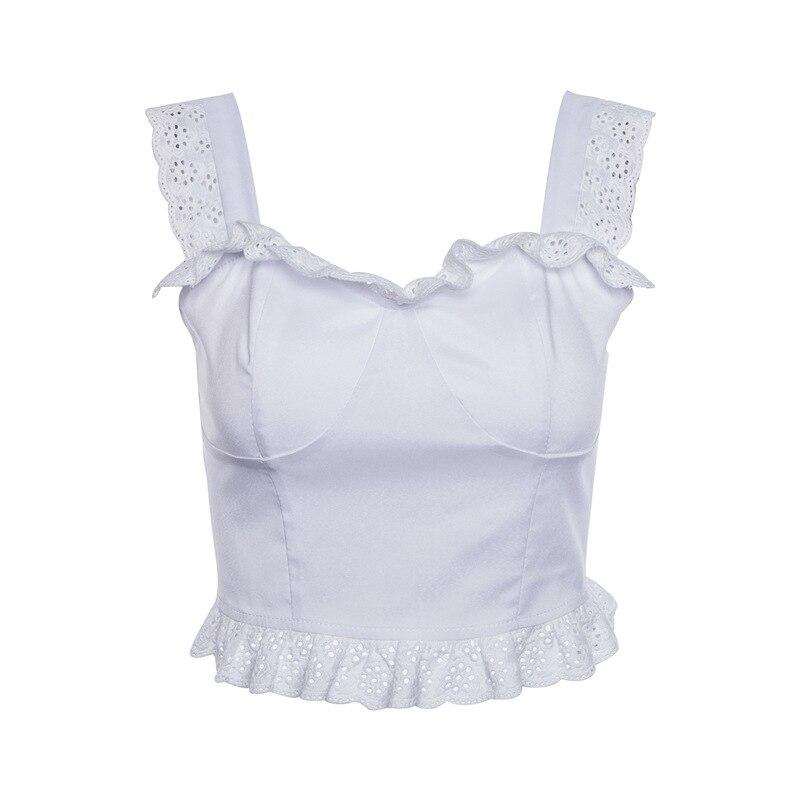 White Lace Ruffle Tank Tops Women Casual Sleeveless Low Back Crop Top 2018 Summer Cool Girls Streetwear Slim Fit Bra Top B349