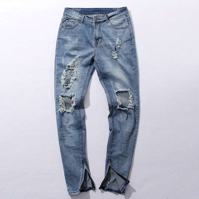 2016 Hip-hop Brand Jeans Mens Denim Distressed Masculina Men's Slim Long Pants Rock Ripped Biker Jeans Homme