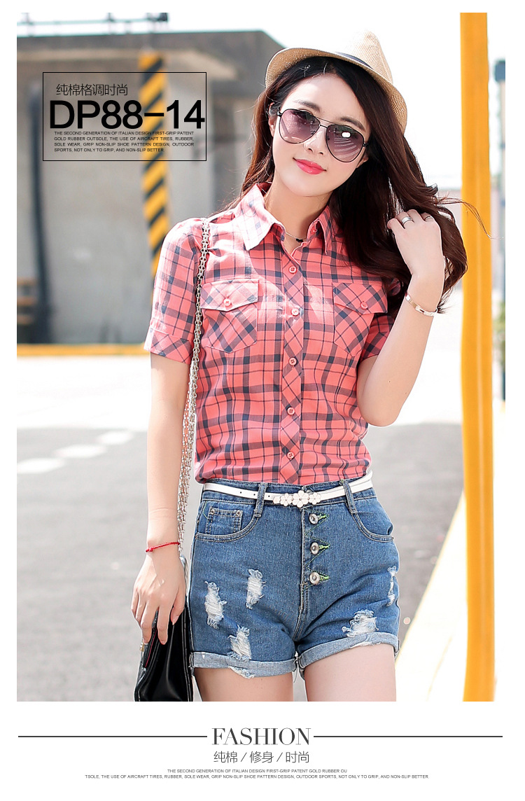 HTB1ktDOHFXXXXc8XXXXq6xXFXXXN - New 2017 Summer Style Plaid Print Short Sleeve Shirts Women