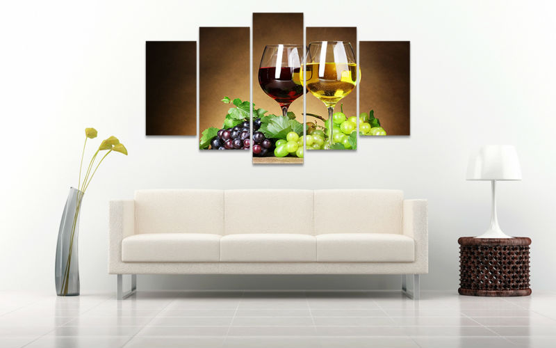 5pcs Art HD Print Wine Glasses Painting Modern Home Decor Dining