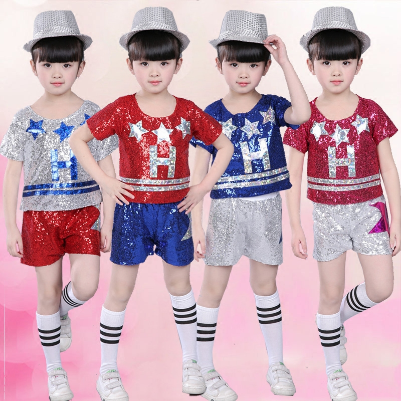 Jazz Costume Sequined Short Sleeved Tops Shorts Kids Hip Hop Street Dance Clothes Stage Outfit Girls Cheerleader Wear DN2952