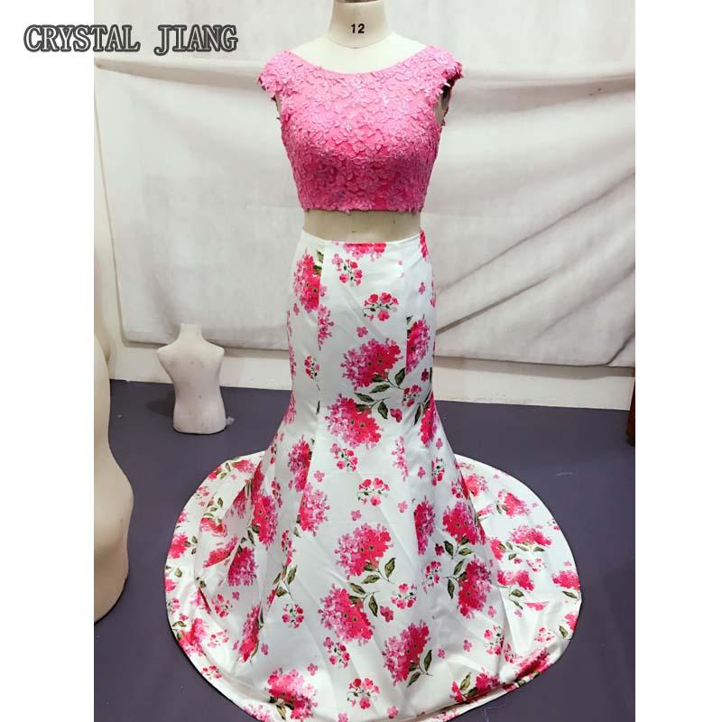Два шматки сукні для весілля Гостьова мережива лиф русалка нареченої плаття квіткові надруковані
