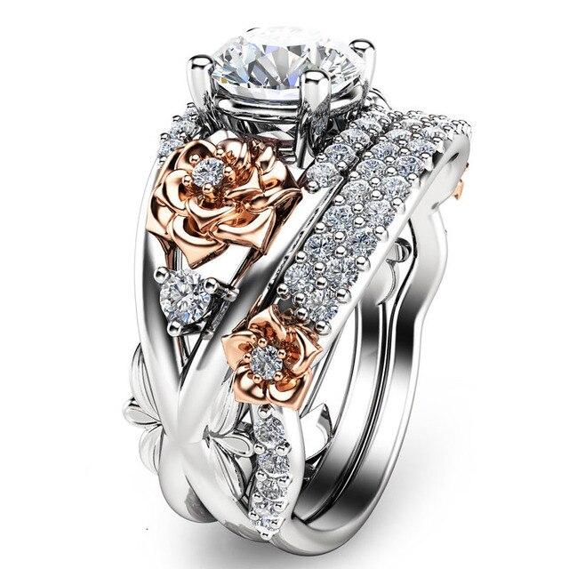 EDI 9 К Two-tone Gold Цветок Розы Свадебные Наборы Кольца Роза золото Белое Золото Имитация Кольцо С Бриллиантом Для Женщин Спящая Красавица ювелирные изделия