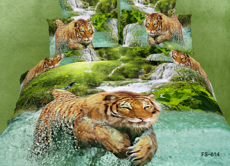 tiger print bed sheet set 3d animal duvet cover queen size 4/5pcs green natrual bedspreads king size children boys home textile