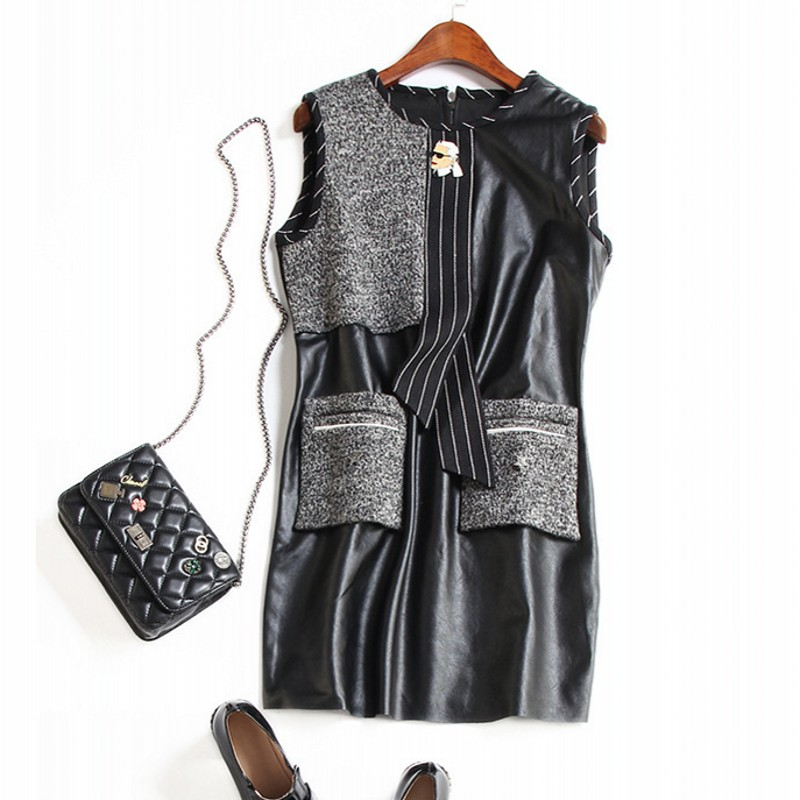 A clearance sale Europe and the United States women's PU joining together of new fund of 2017 autumn tie sleeveless vest dress
