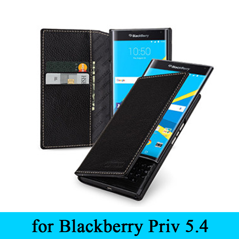 Premium Wallet Phone Shell for BlackBerry Priv Case Top Grade Genuine Leather Cover Protective Case Bag Skin for BlackBerry Priv