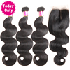 TODAY ONLY Brazilian Body Wave 3 Bundles With Closure 100 Human Hair Weave Bundles With