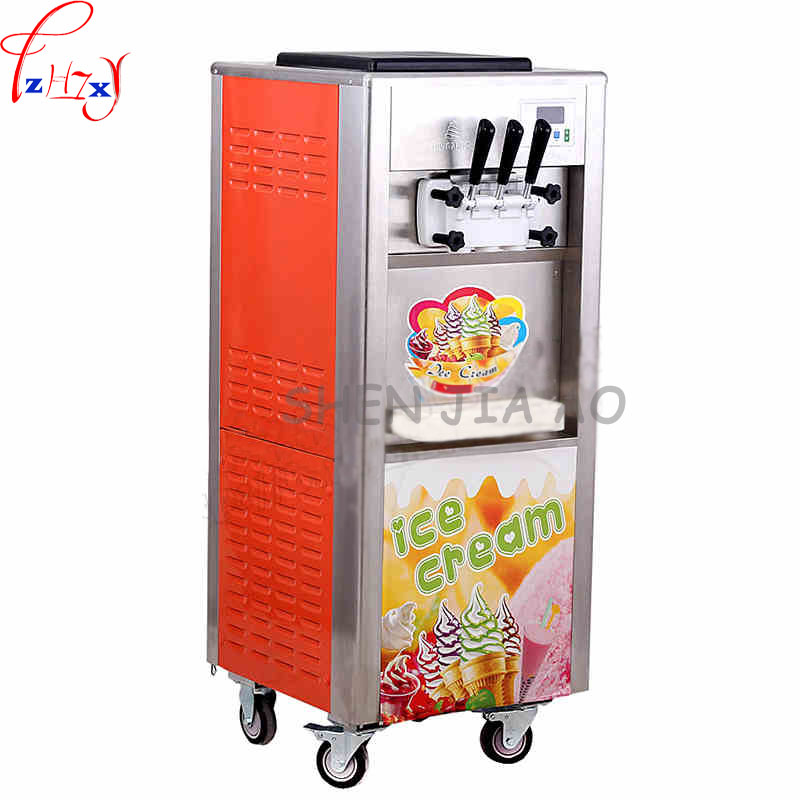commercial three-color soft ice cream machine stainless steel soft ice cream cone sundae ice cream machine make ice cream 1800W ce fried ice cream machine stainless steel fried ice machine single round pan ice pan machine thai ice cream roll machine