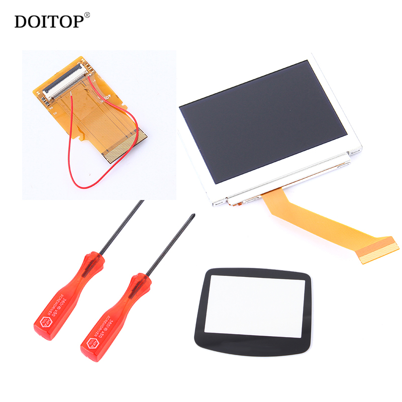 DOITOP For Nintendo LCD Screen For GBA SP AGS 101 Highlit Screen LCD Backlit Brighter +40pin/32pin Flex Ribbon Cable+Glass Cover [50set lot] for nintendo gameboy series game cartridge housing shell replacing cover case for gb gbc gba sp
