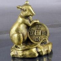 النحاس الماوس زخرفة الحرف هدية عيد الوطن لاكي المال الفأر الجرذ سريع-في تماثيل ومنحوتات من المنزل والحديقة على