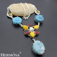 HERMOSA Jewelry ASTONISHING SMOOTHLY POLISHED DRUSY BIWA PEARL GARNET 925 Sterling Silver Women Necklace 18 inches HM134