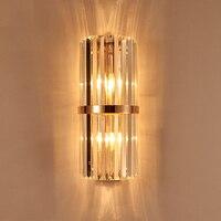 Modern gold Crystal wall lamp shopcase tall clear crystal Bar lighting Villa Hotel Bedside Lamp mirror LED wall lights Banheiro