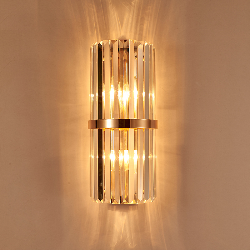 Modern Gold Crystal Wall Lamp Shopcase Tall Clear Crystal