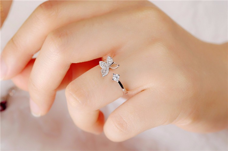 925 Sterling Silver Luxury Crystal Butterfly Rings for Women Jewelry Fashion Open Adjustable Finger Ring 1