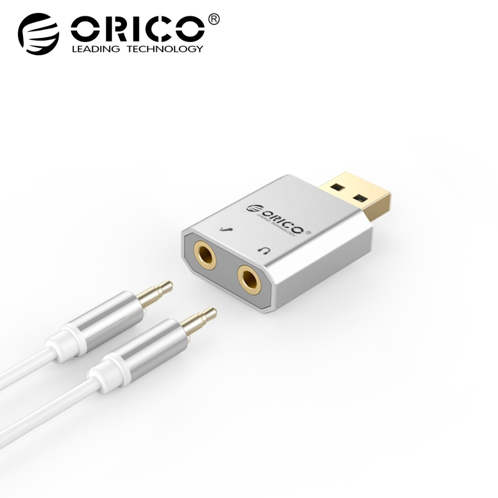 ORICO SK02 External USB Sound Card Stereo Mic Speaker Headset Audio Jack 3.5mm Mini Cable Adapter Free Drive For PC Laptop each g2100 usb and audio jack dual input gaming headset stereo sound vibration headset stretchable band 2 2m nylon coated cable for pc game