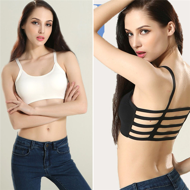 47fc00b841 2018 Summer Women Sexy Hot Wire Free Stripe Boho Back Bra Crop Top Tank  Vest Hollow Bralette Seamless Solid Soft Modal Clothes