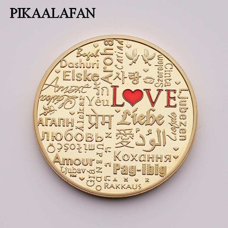 Pièces commémoratives PIKAALAFAN tempérament et Sentiment d'intérêt amour pièces en argent or amour artisanat commémoratif