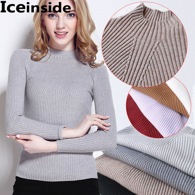 f63658e8e57b Iceinside Womens Knitted Pullover Sweater Women Turtleneck Sweaters Thin  Pattern Sweater Femme Tricot Pull Tops jersey jumper-in Pullovers from  Women s ...