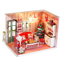 With Christmas Tree DIY Wooden Doll House Toys Dollhouse Miniature Box Kit Handcraft Dollhouse As Kids Christmas/Birthday Gift