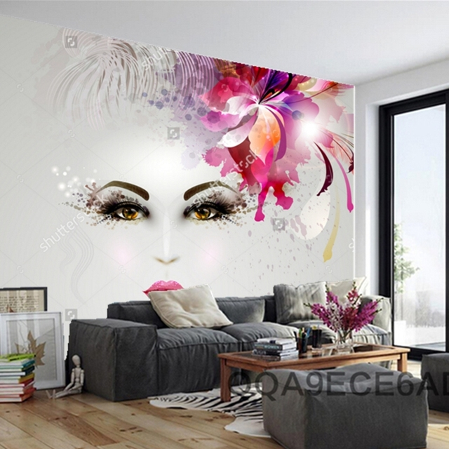 Custom Modern Wallpaper,woman In Artistic Image With Hair Decoration,photo  For Barber Shop