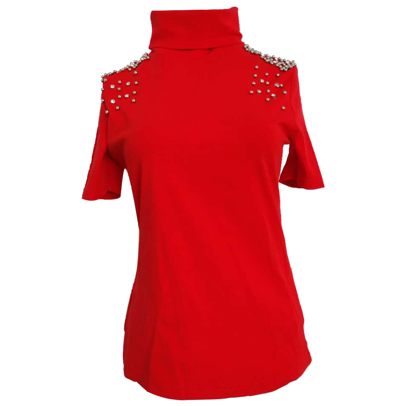 High collar short sleeve t shirt women 2019 autumn new fashion beaded diamond bottoming top tees