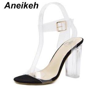 Image 2 - Aneikeh 2019 sandálias de salto alto transparente, de pvc, cristal, leopardo, salto alto, femininas, de 11cm e 41 42