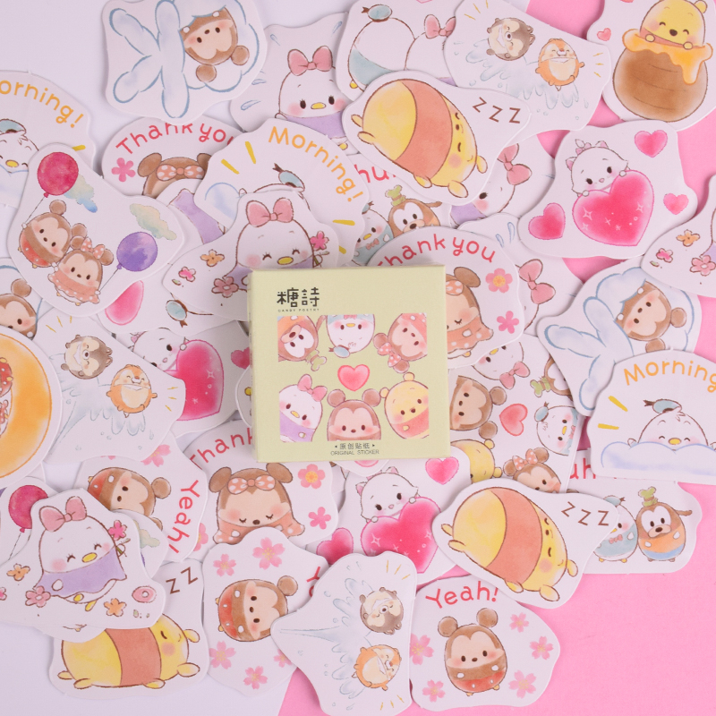45 Pcs/box New Children Cartoon Egg Mini Paper Sticker Decoration DIY Diary Scrapbooking Seal Sticker Kawaii Stationery