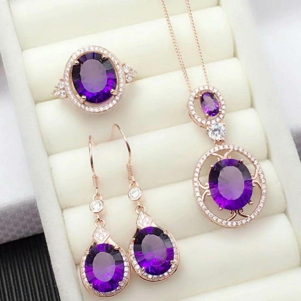 Shilovem 925 argent sterling piézoélectricité améthyste anneaux boucles d'oreilles pendentifs bijoux fins envoyer collier nouveau tftz10120911agz