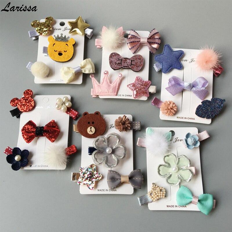 Larissa 3-5pcs flower bowknot hairpins children star cartoon hair clips kids girl handmade barrettes hair accessories headdress