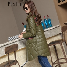 Ptslan Women s Genuine Leather Down Jacket Zipper Closure Real Sheepskin Down Coat from a natural