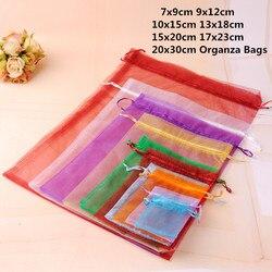10 pçs 15x20 17x23cm 20x30cm organza sacos de jóias saco de embalagem de jóias organza bolsa de jóias bolsas de presente de organza de natal
