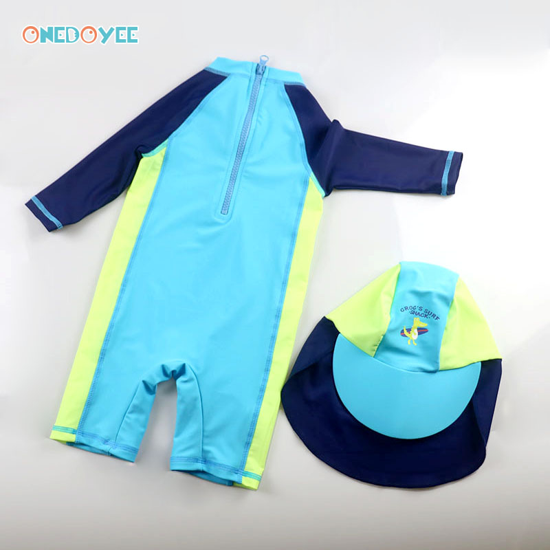 e84c8d273f Onedoyee Baby Boys Swimsuit One Piece Suit Swimming Suits UV Beach Wear  Long Sleeves Boy Children Blue Kids Swimwear with Cap