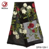 High Quality French Lace Fabric Beautiful Embroidered Flower Net Tissue African French Tulle Lace Fabric For