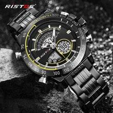 RISTOS многофункциональный хронограф мужские спортивные часы из нержавеющей стали аналоговые модные наручные часы Relojes Masculino военные 9339